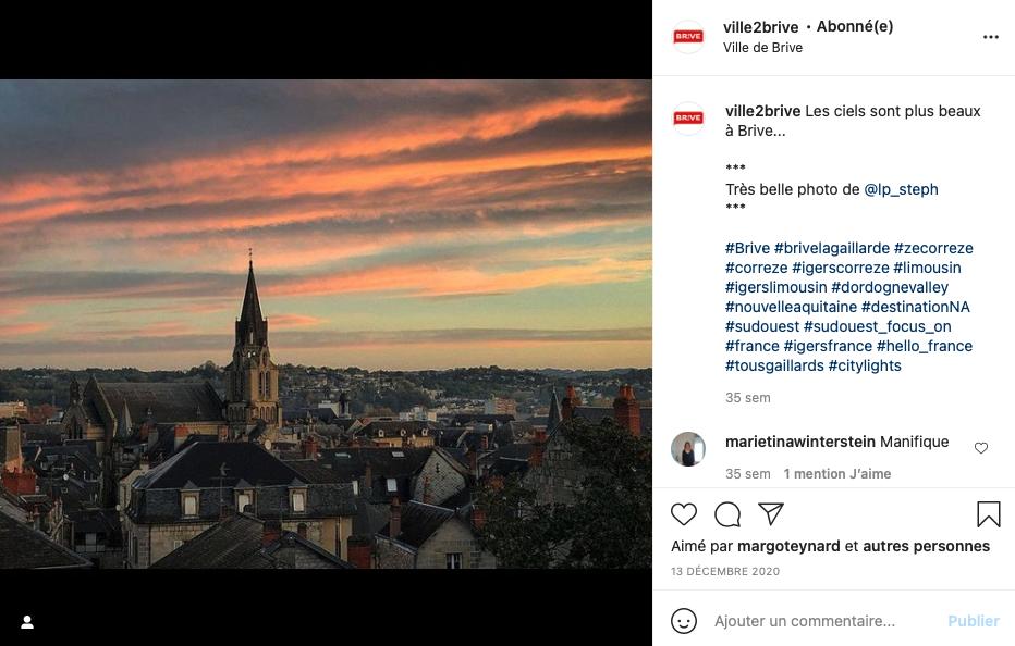 Vue de Brive les coteaux photo Instagram @lp_steph